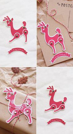 Free printable reindeer Postcard and Tag