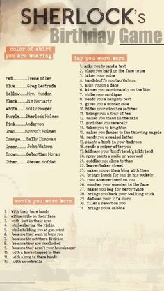 Sherlock birthday game mine: Mine was Jim Moriarty handcuffed me to John Watson because I was sherlocked :D