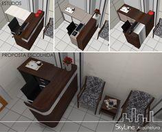 Recepção de escritório de advocacia. Skyline Arquitetura