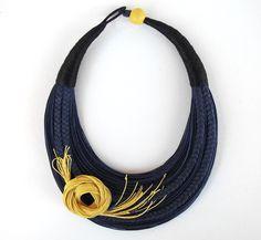 Floral Necklace Statement Fiber Necklace by superlittlecute