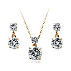 MOONROCY Free Shipping fashion jewelry wholesale Rose Gold Color Jewelry Set Necklace and Earring for women wedding