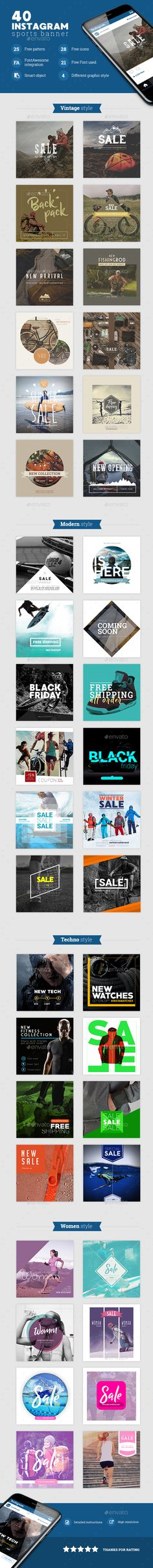 40 Instagram Sports Banner — Photoshop PSD #banner #badge • Available here ➝ https://graphicriver.net/item/40-instagram-sports-banner/20591631?ref=pxcr