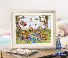 Picnic time for #teddybears! Cross stitch these cuties at play in our fun-filled Stitcher's Challenge project  from @Jenny Barton – these characters will be loved by little ones! Find the chart plus our top tips on how to make them, in the new issue 214 of The World of Cross Stitching magazine