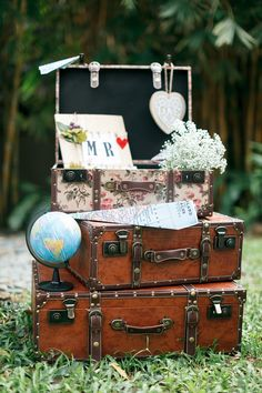 Suitcases, maps and baby's breath rustic travel-inspired wedding // Matthew and Esther's Travel-Themed Wedding at Gita Bayu