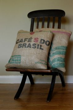 Coffee Sack Pillows (for sale)- I'd love seed bag pillows! (In fact, I have a vintage seed bag hanging out in my basement. . . )