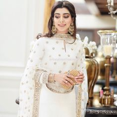 Loving this white traditional look by 🌟 Pakistani Wedding Outfits, Pakistani Dresses, Indian Dresses, Indian Outfits, Bridal Outfits, Pakistani Couture, Pakistani Bridal, Indian Attire, Indian Wear