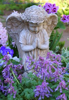 Praying Cherub....love statues in a flower garden!