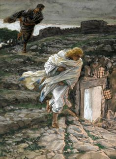 Brooklyn Museum - Saint Peter and Saint John Run to the Sepulchre (Saint Pierre et Saint Jean courent au sépulcre) - James Tissot Catholic Memes, Catholic Art, Religious Art, Catholic Radio, Religious Images, Catholic Prayers, Roman Catholic, Saint John, Salvador