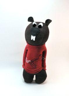 Handmade Canadian Sock Beaver red Christmas sweater by sockart