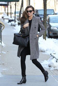 Miranda Kerr | Hermès Kelly, grey coat, boot, t-shirt, sunglasses