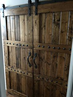 Interior Double Barn Door Package - Double Doors - Sliding Wooden Door - Barn Door Hardware - Farmhouse Style Barn Door - Barn Door Package