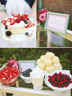 Lots of berry ideas that would be perfect for the 4th of July. Love the make your own shortcake station!