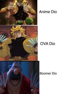 Boomer Dio- nuff said - ShitPostCrusaders Jojo Memes, Dankest Memes, Jojo's Bizarre Adventure, Jojo Anime, Jojo Bizarre, Bizarre Art, Animes Wallpapers, Cursed Images, Stupid Funny Memes