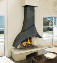 Wood fireplace / contemporary / open hearth / built-in Piros Indoor Outdoor Fireplaces, Outdoor Fireplace Designs, Custom Fireplace, Wood Fireplace, Fire Pit Grill, Freestanding Fireplace, Architect Design, Hearth, House Design