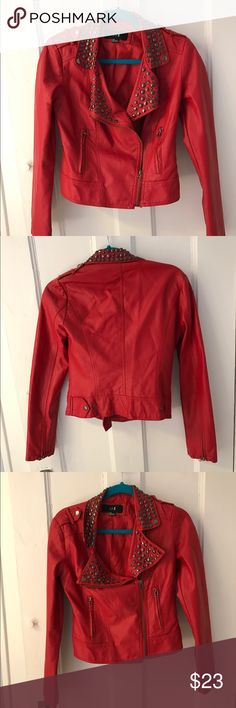 Red studded leather jacket Size small red leather jacket Jackets & Coats