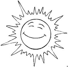 coloring book cartoon sun face | Sun Coloring Pages