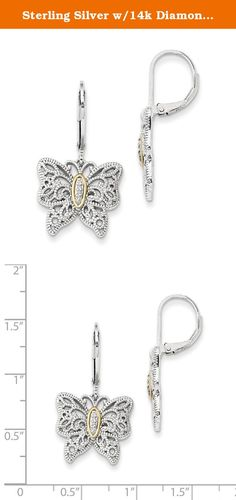 Sterling Silver w/14k Diamond Earrings, Diamond CTW 0.04. Attributes Polished Leverback Sterling silver Diamond Prong set Round Textured 14K Gold Accent Product Description Material: Primary - Purity:14K Stone Type 1:Diamond Stone Quantity 1:8 Length of Item:34 mm Material: Accents:14K Gold Material: Accent Color 1:Yellow Stone Setting 1:Pavâ Stone Weight 1:0.005 ct Material: Primary:Gold Stone Shape 1:Round Stone Size U/M 1:mm Width of Item:18 mm Product Type:Jewelry Jewelry…