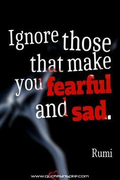 Ignore those that make you fearful and sad. – Rumi