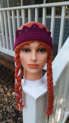 Princess Anna Hat inspired by Disney Frozen Movie Handmade in USA Crochet Wig Diy Crochet And Knitting, Crochet Kids Hats, Crochet Scarves, Crochet Crafts, Crochet Toys, Crochet Projects, Disney Crochet Patterns, Crochet Disney, Anna Frozen