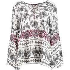 Boohoo Katie Flute Sleeve Floral Blouse (95 BRL) ❤ liked on Polyvore featuring tops, blouses, floral blouse, white off shoulder blouse, white crop top, white kimono and off the shoulder crop top