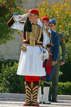 Athenian Guards in national costume , Greece