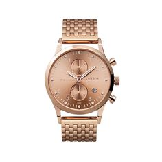 Rose Lansen Chrono is a unisex, neat, sophisticated chronograph, with white round hour indexes, white minute markers and date function at 4h. It has a rose gold sunray dial and rose gold sunray sub-dials. The dial is set within a polished rose gold plated stainless steel case with a rose gold crown and push buttons.