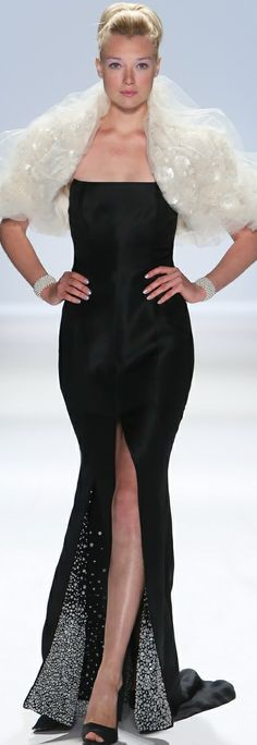 Zang Toi Designs Fall 2013 - #love the detail on bottom of dress