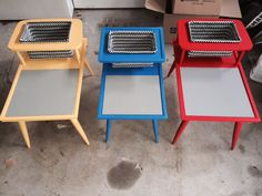 Lego play stations from old retro end tables. Furniture Projects, Kids Furniture, Furniture Makeover, Painted Furniture, Crate Furniture, Furniture Websites, Wood Projects, Lego Table Ikea, Old End Tables