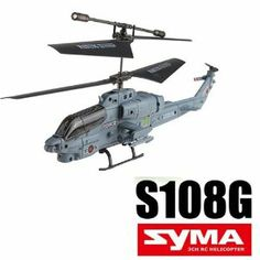 SYMA S108G 3.5CH Infrared Mini Marine Cobra RC Helicopter - Bulit-in Gyro, Completely Assembled, Super Compact Size and Light Weight by Brainydeal. $28.99. Model No. S108G. 3-channel, allows to be flown and landed, hover in midair, and turn left or right.. Control Mode: Infrared Control System. Super compact size and light weight, actually fit in the palm of your hand.. Built-in Gyroscope. SYMA S108G RC micro helicopter has a streamline canopy design, which not only ...