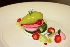 Yogurt Meringue, Cucumber Gelee, Strawberry Cream, Cucumber Foam, Strawberries, Fresh Cucumber, Strawberry Meringue and Cucumber Sorbet