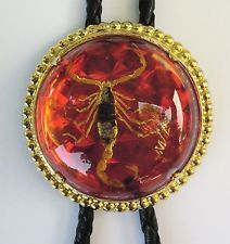 SCORPION RED AND GOLD RODEO ANIMAL 3-D RODEO COWBOY BOLOTIE WESTERN BOLO TIE