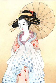 Geisha Paintings | Geisha by *kaminary-san on deviantART