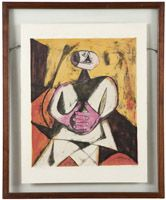 Lot# 1205 Rufino Tamayo (1899-1991 Mexican) ''Hombre (Man)'', color lithograph on paper under glass, paper size: 25.75'' H x 20'' W, est: $2000/3000 *Price Realized: $2,756.25