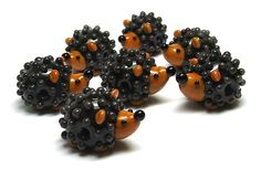 Beads By Laura: Lampwork glass 'Hedgehog' beads by Laura Sparling