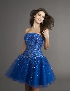 Fascinating Organza Mini Sweetheart Sleeveless Royal Blue Cocktail/Prom Dresses