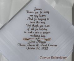 Ring Bearer Gift  THANK YOU For Helping To by CanyonEmbroidery, $27.50