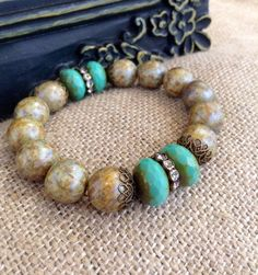 Czech Glass Stacking Beaded Bracelet  by CountryChicCharms on Etsy, $38.00: