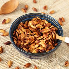 Don't know what to do with the leftover pumpkin seeds from carving the pumpkin? Try these Chili Roasted Pumpkin Seeds - a delicious and healthy fall snack!