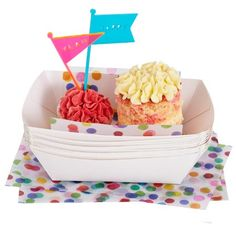 Confetti food dishes, papers and forks from julie rose party co