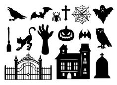 Halloween illustrations of Pumpkin, a ghost house, a witch broom, a black cat, a rat, a zombie hand, a cross, a ghost, a raven, a spider, a spider's web. On our website you'll find a lot of cool Halloween designs, which are of high quality with editable texts. #halloween #halloween2020 #halloweenillustration #vector #vectorillustration #spooky