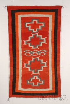 Southwest Transitional Rug, Navajo, c. late 19th century, natural and synthetic dyed homespun wool, concentric stepped crosses with multiple borders, 48 x 87 in. Native American Blanket, Native American Rugs, Native American Beading, Native American Indians, Navajo Weaving, Navajo Rugs, Motifs Textiles, Leather Carving, Indian Rugs