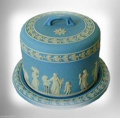 Wedgwood jasperware cheese dome - blue & white designs - FREE SHIPPING