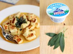 ricotta gnocchi with brown sage butter sauce.... need i say more? this is going on next week's recipes!