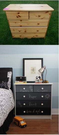 $20 pine dresser from a yard sale turned into a DIY ombre chalkboard art station for my son's room