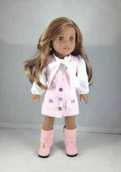 "18T Sweet & Sassy - Blouse, Jumper and Boots for 18"" dolls like American Girl (R) Lea, Tenney, Grace, McKenna, Rebecca and Saige by MjsDollBoutique18T on Etsy"