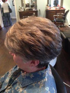 Natural highlight balayage on gray hair