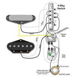 tele wiring diagram with 4 way switch telecaster build pinterest rh pinterest com 4 way tele wiring 2 volume no tone 4 way tele wiring 2 volume no tone
