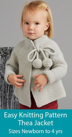 Knitting Pattern for Baby and Child Thea Jacket in Garter Stitch - Long sleeved cardigan knit in garter stitch and fastened with an i-cord decorated with pompoms. Sizes To Fit Age: Newborn to 4 Years. Designed by MillaMia for kids Kids Knitting Patterns, Baby Sweater Knitting Pattern, Knitting For Kids, Baby Knitting, Crochet Baby, Knit Crochet, Cardigan Pattern, Knit For Baby, Knitting Patterns Baby