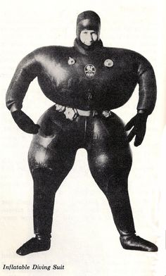 Hoping to win Gold at the '53 Olympics Men's High Diving Event, Irish athlete Padraig O'malley donned this inflatable suit. After bouncing out of the pool area he was finally found wedged under a bus in the public carpark.