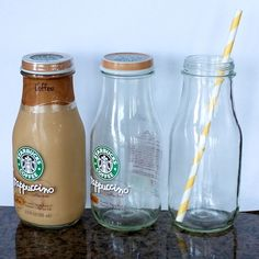 Turn store-bought frappuccino bottles into trendy glass milk bottles for party d. - Turn store-bought frappuccino bottles into trendy glass milk bottles for party drinks. Starbucks Glass Bottles, Starbucks Frappuccino Bottles, Glass Milk Bottles, Bottles And Jars, Milk Glass, Mason Jars, Glass Jars, Starbucks Bottle Crafts, Glitter Bottles
